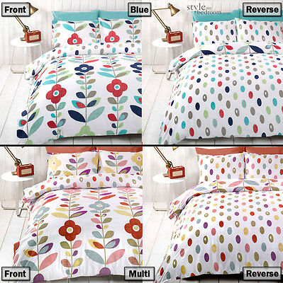 Flowers & Petals Retro Reversible Bedding Duvet Quilt Cover Set & Pillowcases