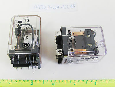 1x Omron MJ2P-UA-DC48, 10A 48VDC / 240VAC DPDT Plug-In Relay, New Old Stock!
