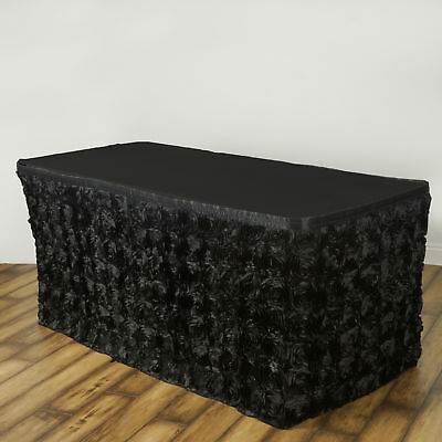17' Black SATIN ROSES TABLE SKIRT Tradeshow Wedding Party Catering Supplies