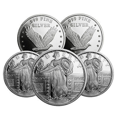 Lot of 5 - Standing Liberty Design 1 Troy oz .999 Fine Silver Rounds