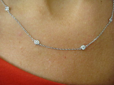 """1 Carat T.w. """"diamonds By The Yard"""" 10 Stations Necklace 14K White Gold"""