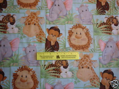 JUNGLE  BABIES - Animals in Jungle in SQUARES  Fabric Match  By Yard