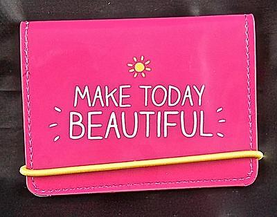 """Card Holder. """"MAKE TODAY BEAUTIFUL"""" By HAPPY JACKSON. Pink with zebra print in."""