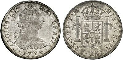 1774 Spanish Silver Coin Carlos III Monarchi 8 Reales SS 331-1111