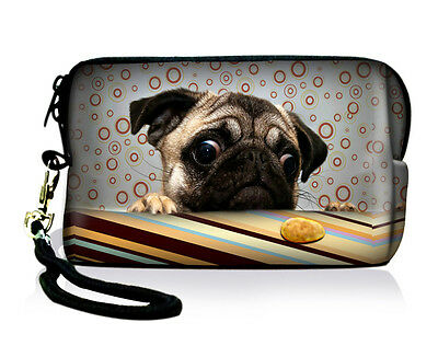 Cute Pug Cell Phone Digital Camera Case Neoprene Sleeve Bag Cover Pouch + Strap