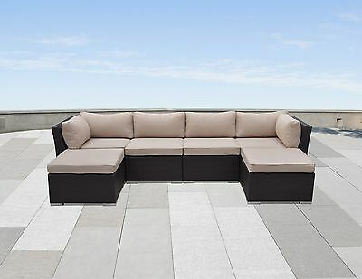 6PC Modern Outdoor All Weather Wicker Patio Set Sectional Sofa Furniture