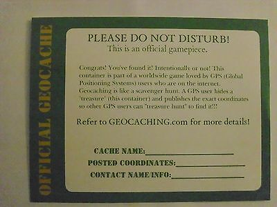 (10) 5x4 Geocache Container Label Cards!! NEW!! Helps protect your caches!!