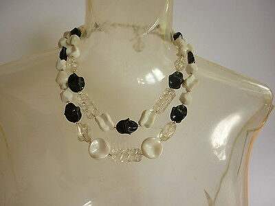 VTG 50s / 60s 2 Strand Chunky Plastic Bead Necklace Black, White & Clear OP Pop