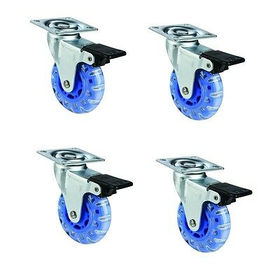 "4 pack 4"" Swivel Blue Caster Wheels Rubber Base w/ Top Plate And Lock Brakes"