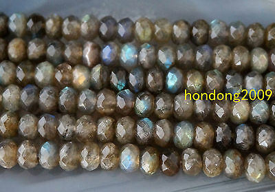 """NATURAL 5x8mm Faceted   Labradorite Rondelle gemstone Beads 15""""AAA"""