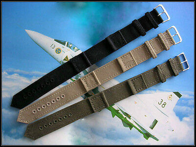 18mm Olive Drab Green Canvas WWII 1pc Military watchband Army MoD nato IW SUISSE