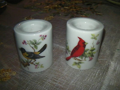 "Vintage West German Porcelain ""Bird"" Candlestick Holders"