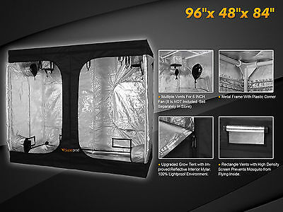 Growing Plant Indoor Hydroponic System 600D Reflective Grow Tent Mylar 8x4x7'