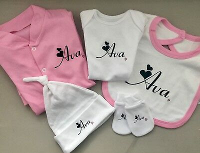 Fantastic baby girl PERSONALISED pink heart sleepsuit babygrow hat bib & mitts