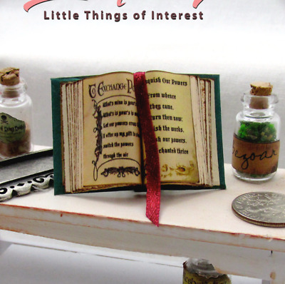 CHARMED BOOK OF SHADOWS Open Book Dollhouse Miniature Book 1:12 Scale Spells
