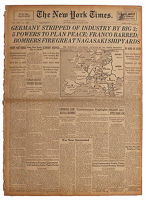 NY Times 8/3/45 Just Before Atomic Bomb/ Big 3 Conferen