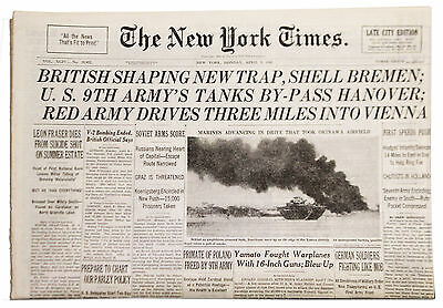 NY Times 4/9/45 V-2 Bombing of Britain Ends