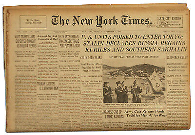 New York Times From Day After V-J Day 9/3/45