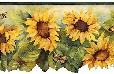 Sunflower with Dark Green Edge Wallpaper Border BG71362DC