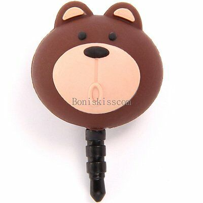 3.5mm Little Bear Earphone Jack Dust-proof Plug Ear Dust Cap Anti-plug for Phone