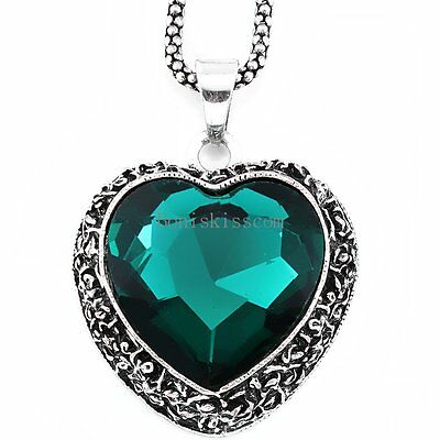 Retro Vintage Crystal Love Heart Pendant Sweater Necklace Ladies Girls Gifts