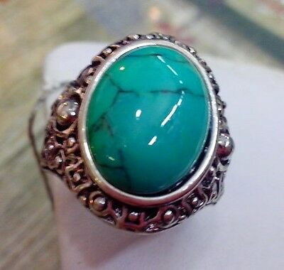 Retro Oval Turquoise Green Bead inlay Tibet Silver Ring Unisex Gift Size 8.9.7