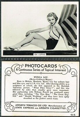Ardath - Photocards (Film Stars) 1937 Large Movie Star Cigarette Cards List #1