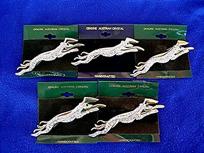 Costume Jewelry 5 Greyhound pins with Crystals #26 Whippet Hound Dog Jewelry