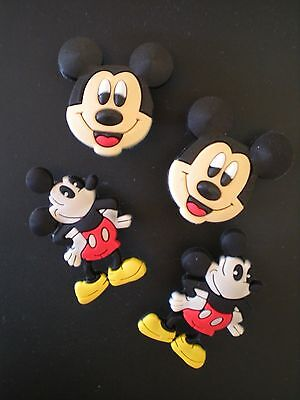 4 Mickey Mouse Jibbitz Croc Shoe Charm Plugs For Clogs Belts WristBands W/Holes