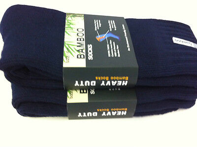 3 Pairs Thick 92% Bamboo Cushion Blue Socks for Walking, Boot, Work 6-11,11-14