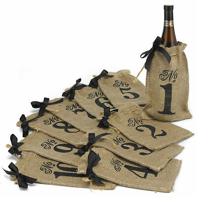 Table Numbers 1-10 Burlap Hessian Wedding Wine Bottle Bags Rustic Decoration