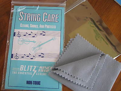Blitz String Care Cloth Clean Shine Protect Metal String Musical Instruments