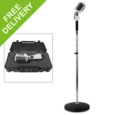 Silver Retro 50s Style Karaoke Stage Microphone Musician Gig Vocal Mic Stand