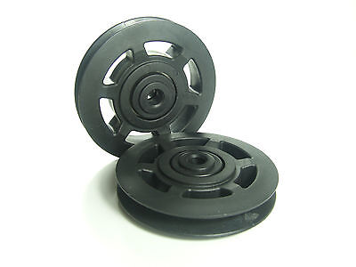 2Pcs Universal Bearing 95mm Nylon Pulley Wheel Replacement Gym Fitness Wearproof
