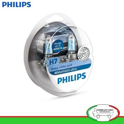 2 Lampade H7 Philips WhiteVision Ultra 4200 K 12 V 55 W + 2 Lampadine T10 (W5W)