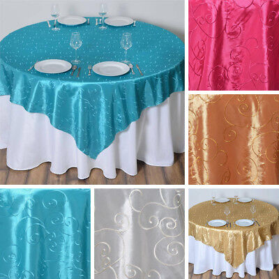 "3 Dozen EMBROIDERED TAFFETA 72x72"" TABLE OVERLAYS Wedding Linens WHOLESALE LOT"