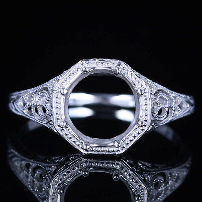 7-8Mm Round Semi-Mount Antique Sterling Silver 925 Vintage Fine Solitaire Ring