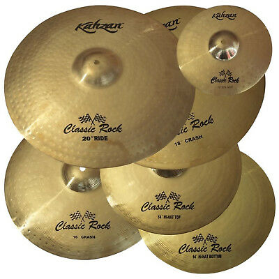 "New Kahzan ""Classic Rock"" Series 14""/16""/18""/20"" Cymbal Pack for Drum Kit"