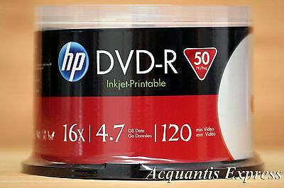 50 HP 16X DVD-R WHITE InkJet Printable Blank empty Media Spindle 4.7GB box cake
