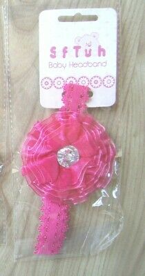 Baby Girl Large Flower Pink White Lace Headband/Hair Band Soft Touch New