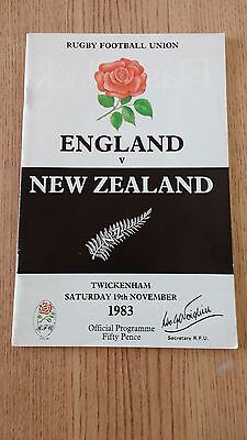England v New Zealand 1983 Rugby Programme
