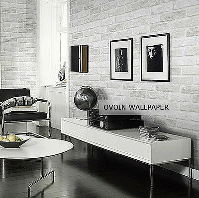 Wallcovering textured grey white roll modern effect 10m stone 3D brick Wallpaper