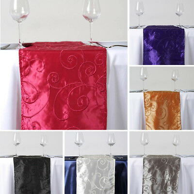 """15 pcs TABLE RUNNERS 12x108"""" Embroidered TAFFETA Wedding Party Catering Linens"""