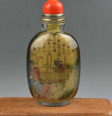 1926 chinese inside hand painted peking glass snuff bottle old antique red coral