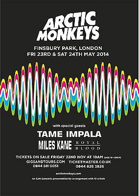 Arctic Monkeys Finsbury Park Reproduction Poster May print