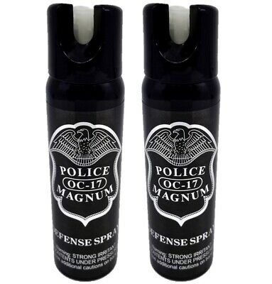 2 pack Police Magnum 4oz pepper spray GID Safety Lock Self Defense Protection
