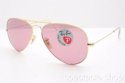 Ray Ban 3025 001/15 58 Gold Pink Polarized New Authentic Sunglasses