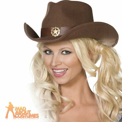 Cowgirl Hat Wild West Cowboy Rodeo Fancy Dress Ladies Indian Womens Western