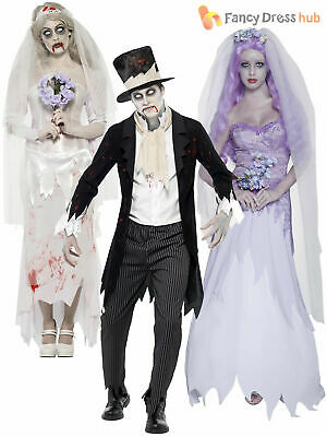 2a324465e8a Mens Ladies Zombie Bride + Ghostly Groom Halloween Fancy Dress Costume  Outfit Sc 1 St PicClick UK