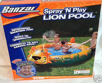 "Banzai Spray 'n Play Backyard Lion Pool With Sprinkler 77"" X 61""  Ages 2+ New"